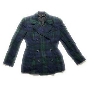 Vtg Donna Karan Tartan Plaid Wool Cashmere Blazer
